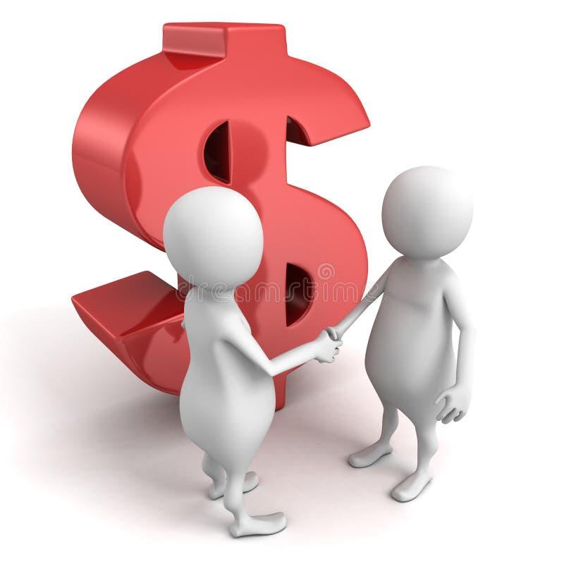 aperto de mão dos povos 3d com símbolo vermelho do dólar ilustração do vetor
