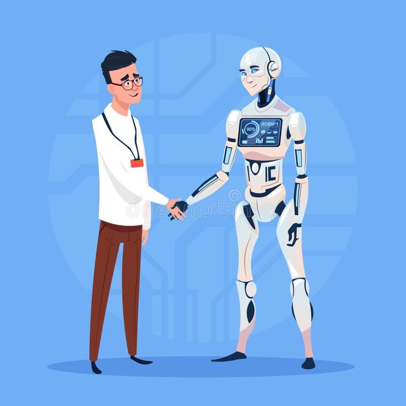 Aperto de mão moderno do robô com conceito futurista da tecnologia de inteligência artificial do homem ilustração do vetor