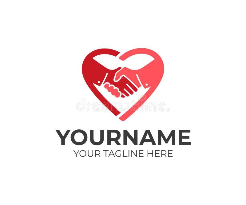 Aperto de mão no coração, molde do logotipo Amizade, confiança e saúde, projeto do vetor ilustração stock
