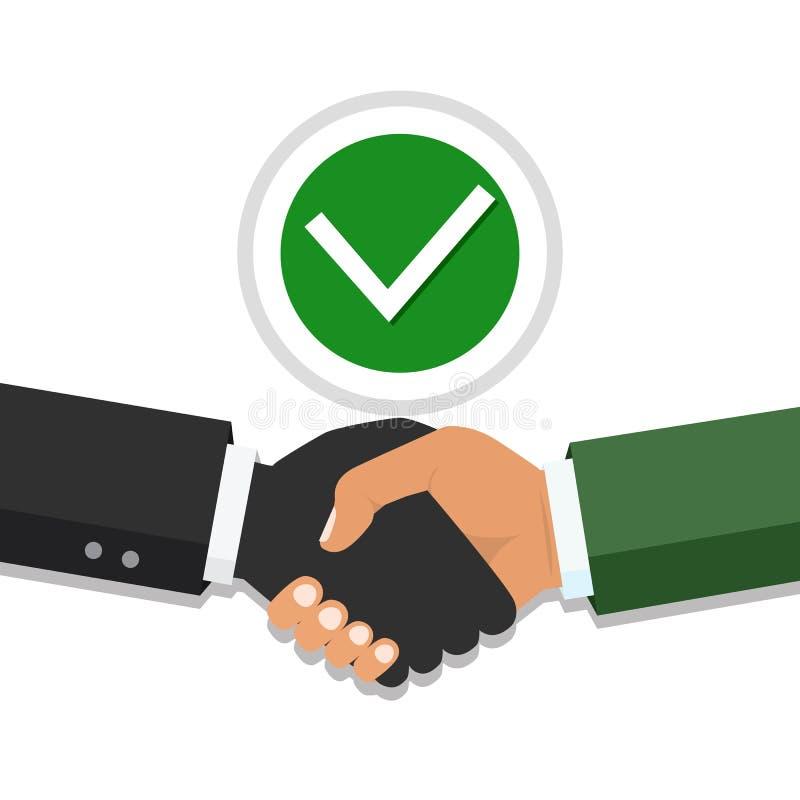 Aperto de mão, parceria do negócio Símbolo do negócio do sucesso, b feliz ilustração royalty free