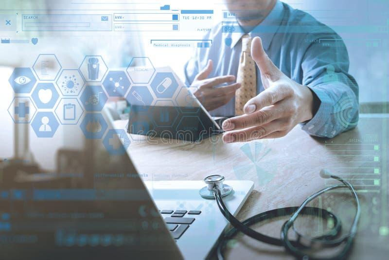 Aperto de mão que ajuda para o conceito médico da tecnologia do negócio Docto ilustração do vetor