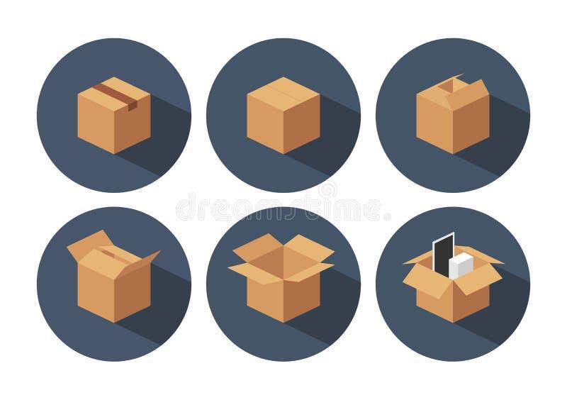 Aperto e chiuso ricicli la scatola d'imballaggio della consegna marrone del cartone illustrazione di stock
