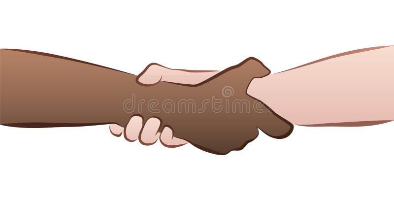 Aperto inter-racial do aperto de mão ilustração do vetor