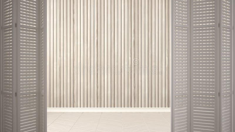 Apertura bianca della porta di piegatura sulla stanza vuota con la parete di legno, interior design bianco, concetto del progetti fotografia stock libera da diritti