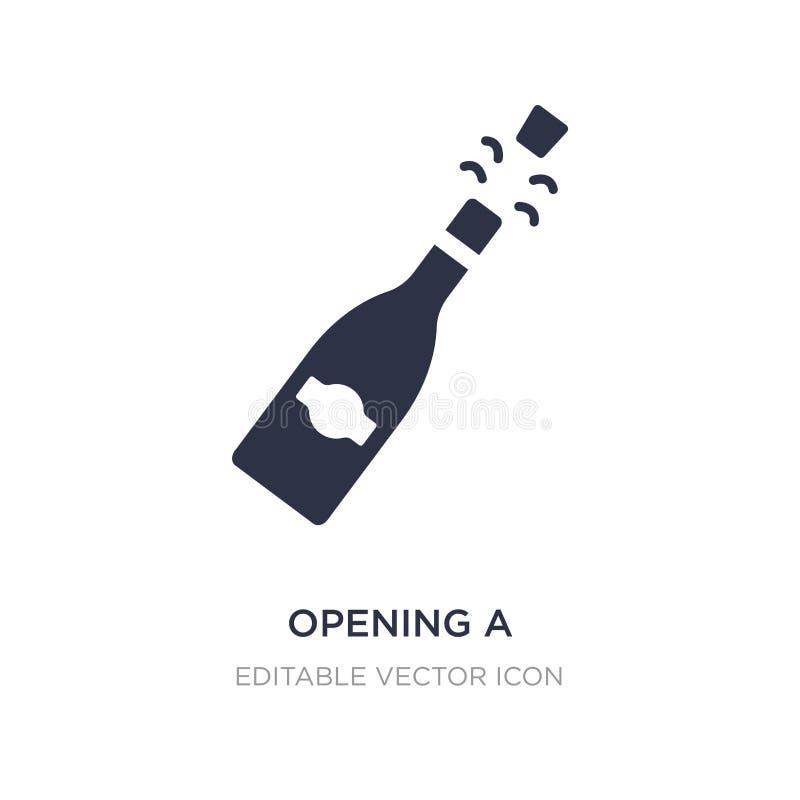 apertura de un icono de la botella del champán en el fondo blanco Ejemplo simple del elemento del concepto de la comida ilustración del vector