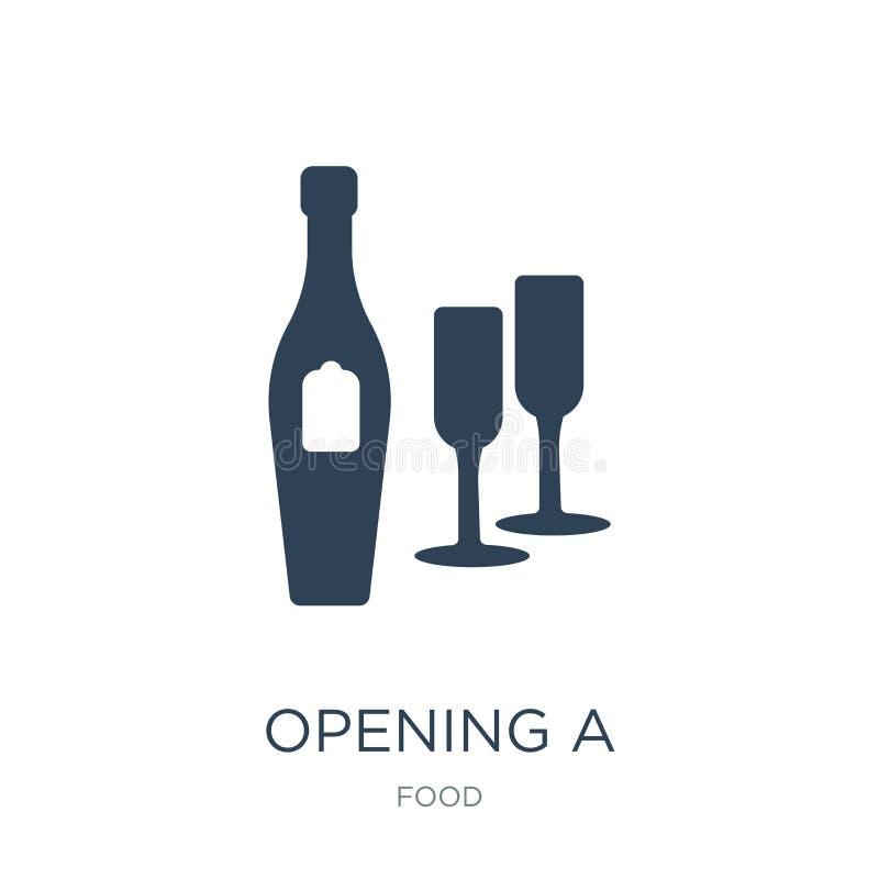 apertura de un icono de la botella del champán en estilo de moda del diseño abriendo un icono de la botella del champán aislado e libre illustration