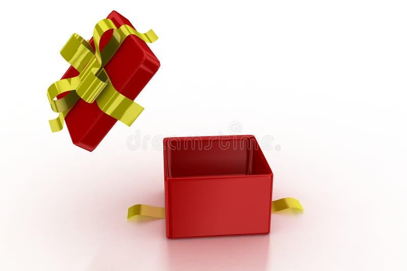 Apertura del presente di colore rosso illustrazione vettoriale