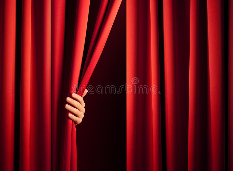 Apertura della tenda fotografie stock libere da diritti