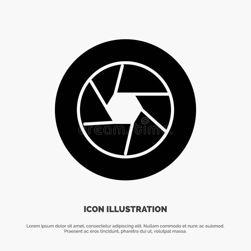 Apertura, film, logo, film, fotografia glifu ikony stały wektor royalty ilustracja