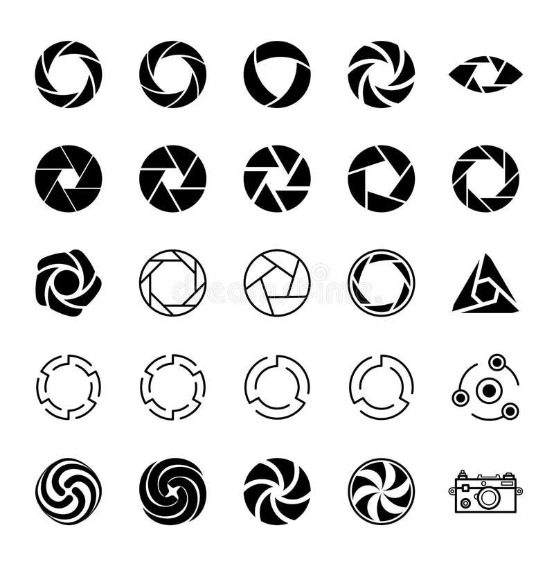Apertura i fotografia ustawić symbole ilustracji