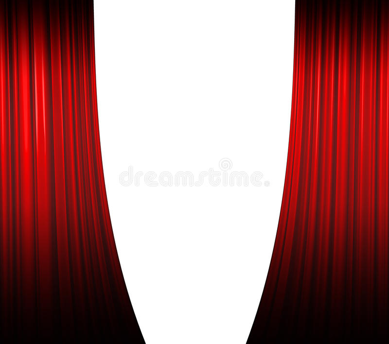 Apertura roja de la cortina ilustración del vector