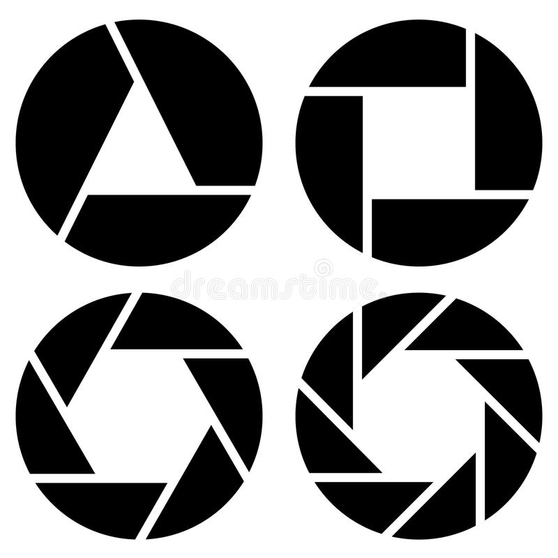 Aperture, camera lens symbol, pictogram in 4 variation for photo royalty free illustration