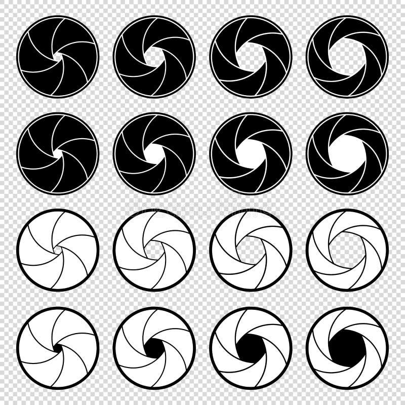 Aperture dell'otturatore - insieme in bianco e nero delle illustrazioni di vettore - isolate su fondo trasparente illustrazione vettoriale