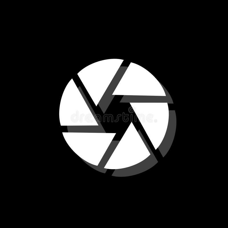 Aperture Diaphragm icon flat. Aperture Diaphragm. White flat simple icon with shadow stock illustration