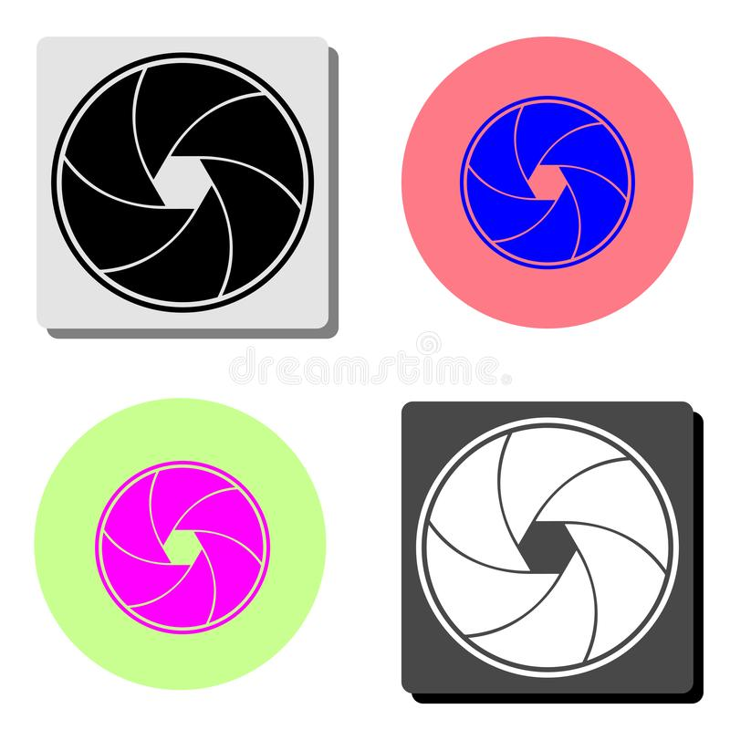 Aperture focus. flat vector icon. Aperture focus. simple flat vector icon illustration on four different color backgrounds royalty free illustration
