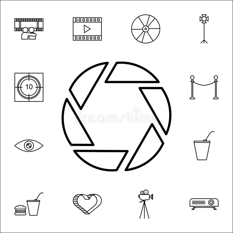 Aperture icon. Cinema icons universal set for web and mobile. On white background royalty free illustration