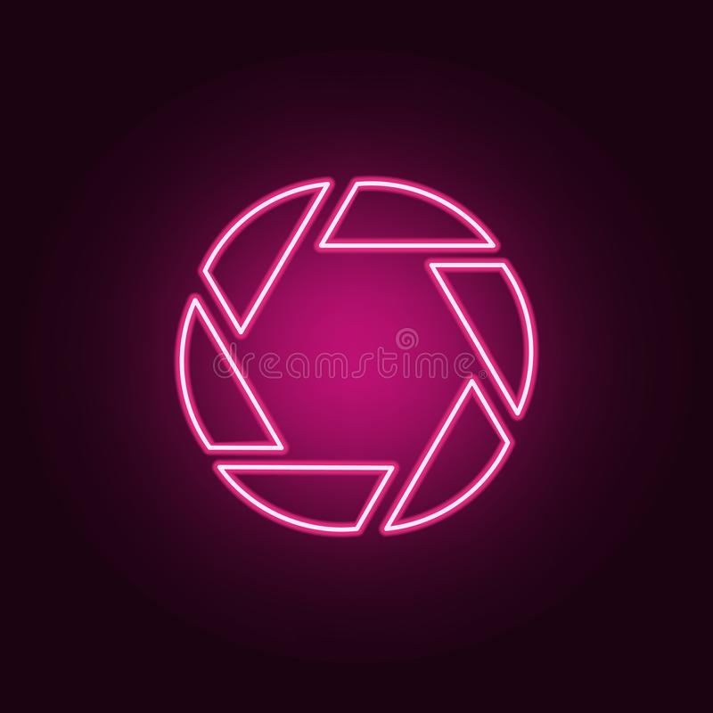 Aperture icon. Elements of Cinema in neon style icons. Simple icon for websites, web design, mobile app, info graphics. On dark gradient background stock illustration