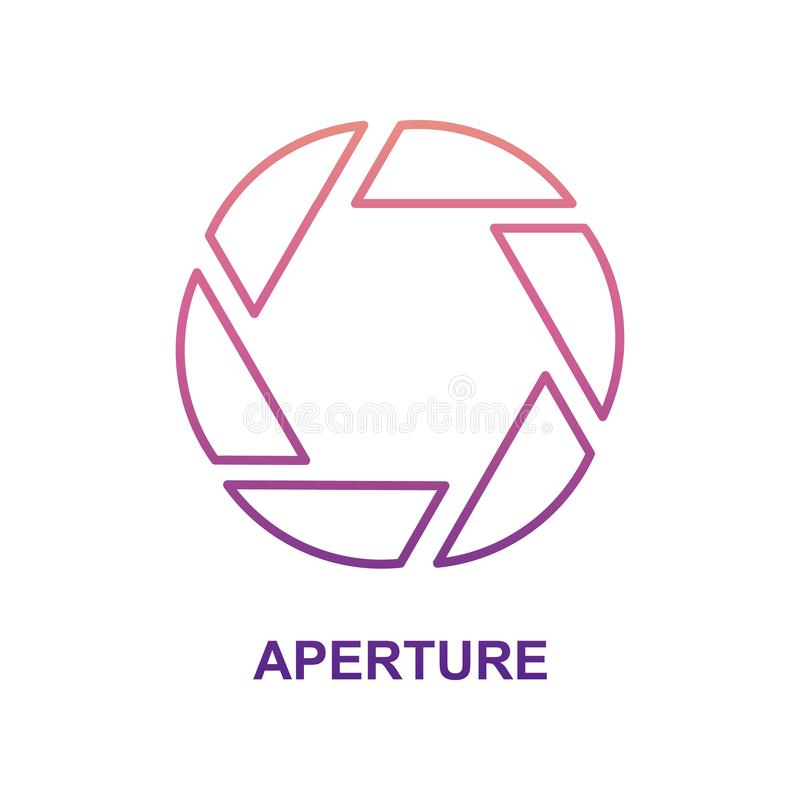 Aperture icon in Nolan style. On white background royalty free illustration