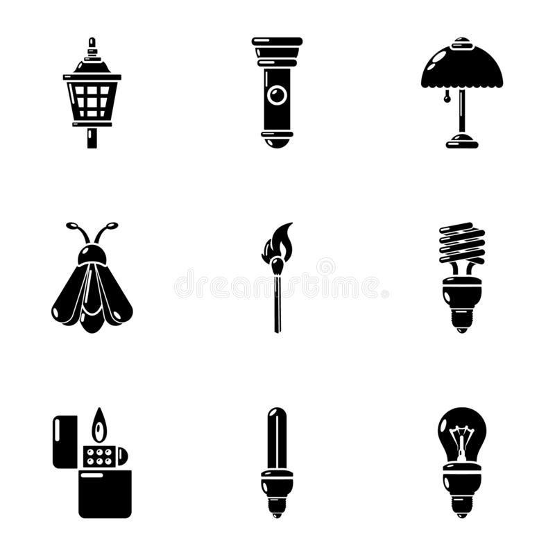 Aperture icons set, simple style. Aperture icons set. Simple set of 9 aperture vector icons for web isolated on white background stock illustration