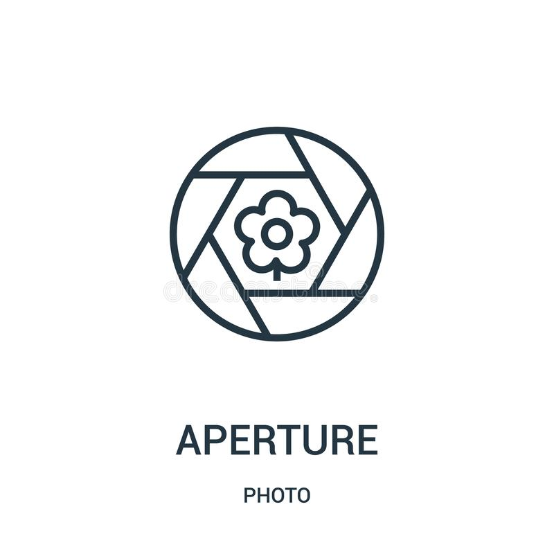 apertury ikony wektor od fotografii kolekcji Cienka kreskowa apertura konturu ikony wektoru ilustracja Liniowy symbol dla używa n royalty ilustracja