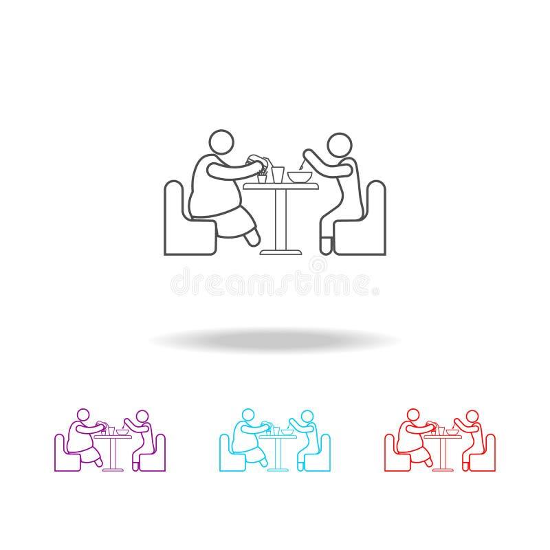 apetite de ícones de uma pessoa gorda Elementos do fast food em multi ícones coloridos Ícone superior do projeto gráfico da quali ilustração stock