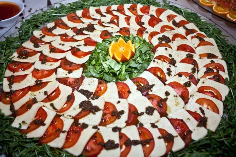 Apetizer do tomate e do queijo imagens de stock