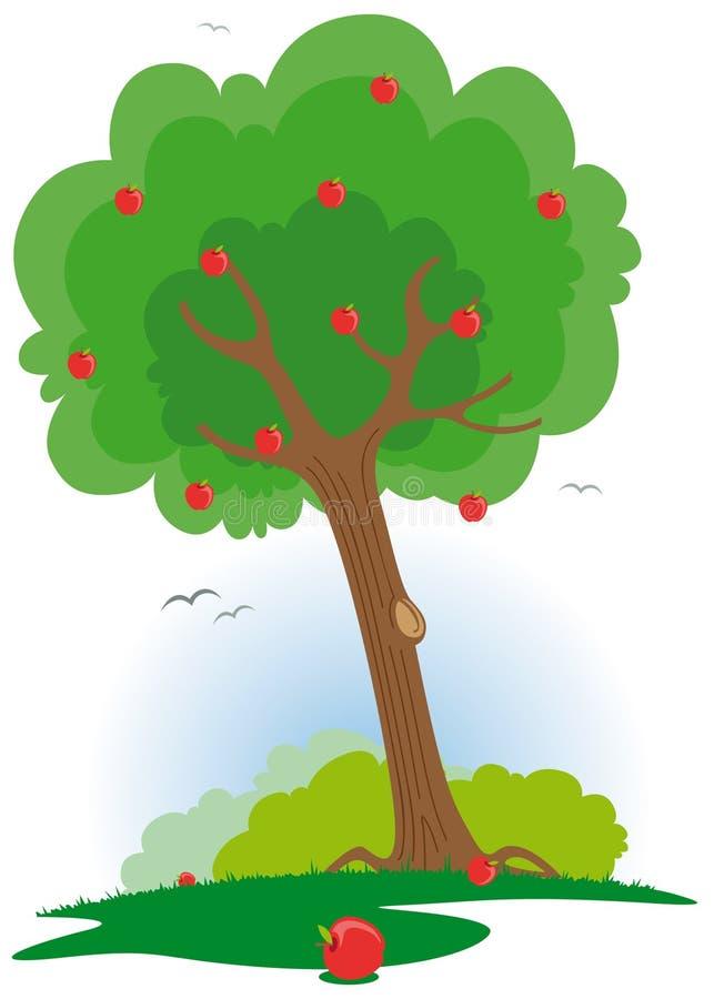 apfelbaum mit rotem apfel vektor abbildung bild von landwirtschaft 6167317. Black Bedroom Furniture Sets. Home Design Ideas