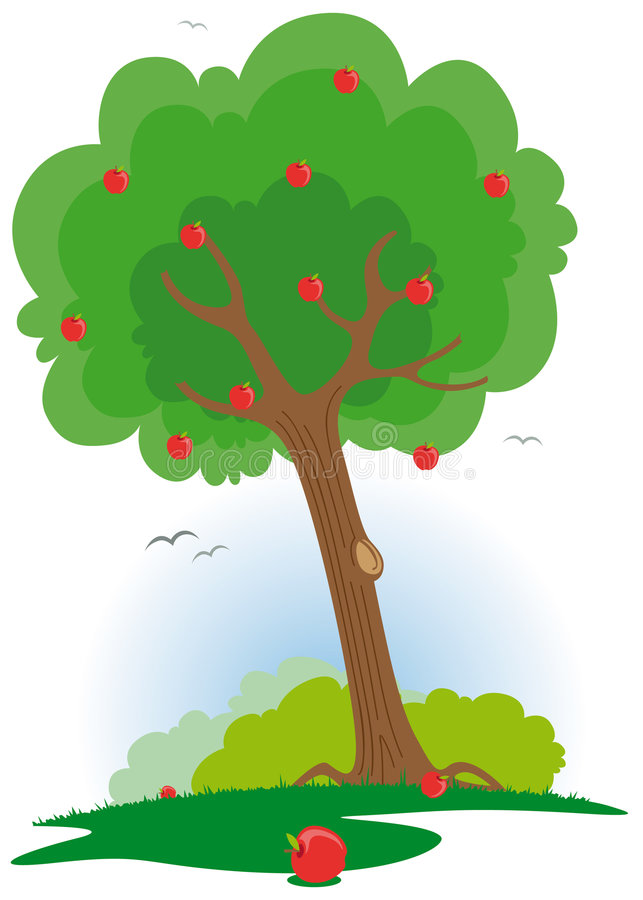 apfelbaum mit rotem apfel vektor abbildung bild von. Black Bedroom Furniture Sets. Home Design Ideas