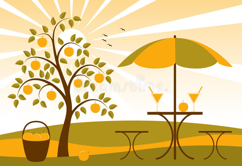 Apfelbaum und Apfelsaft vektor abbildung