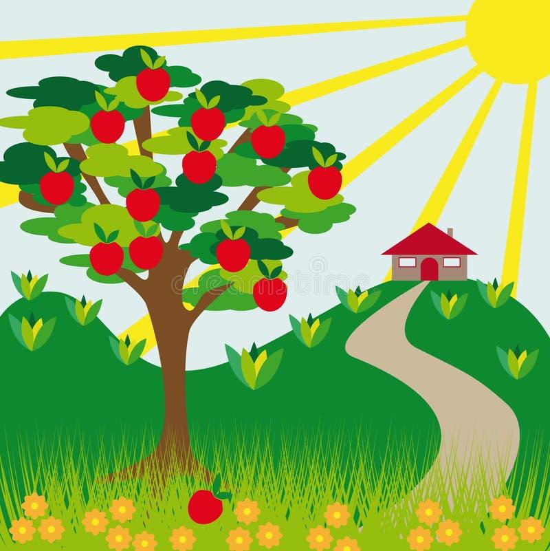 Download Apfelbaumhügel und -haus vektor abbildung. Illustration von hügel - 9095103