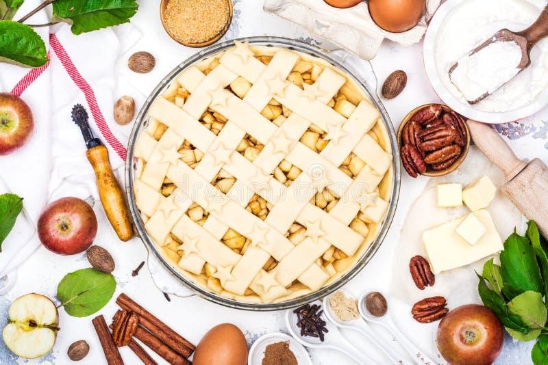 Apfelkuchen mit Bestandteilen lizenzfreie stockfotografie