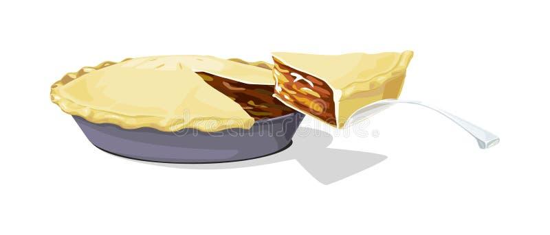 Apfelkuchen mit einer Scheibe stock abbildung