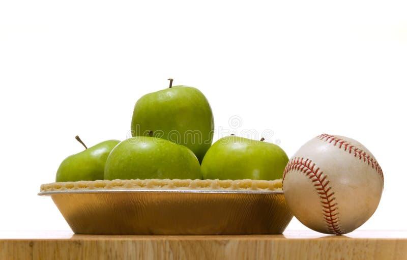 Apfelkuchen und Baseball stockfoto