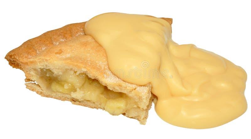 Apfelkuchen und Vanillepudding stockfotografie