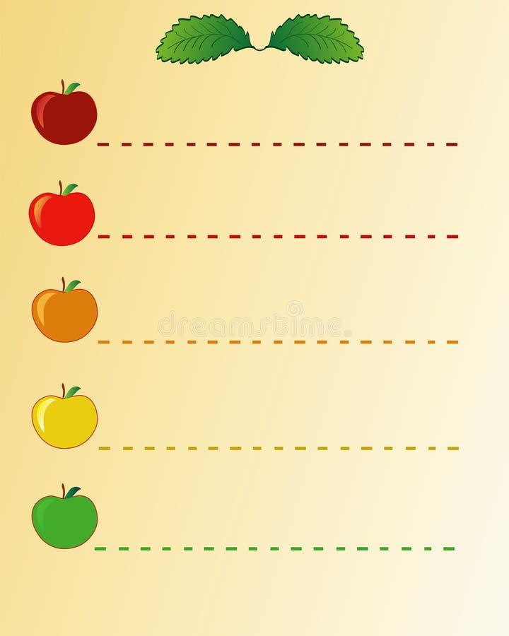 Apfelliste lizenzfreie abbildung