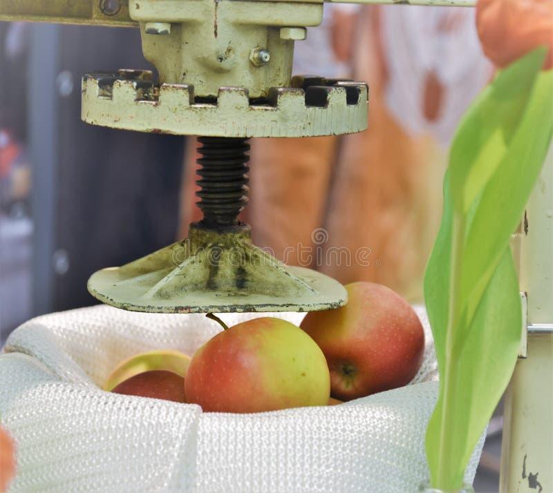 Apfelmus, das unter Verwendung eines Stahlsiebs gemacht wird stockbilder