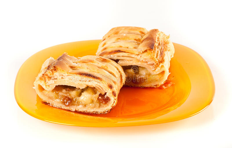 Apfelstrudel (apple pie). Studio close up of delicious apfelstrudel (apple pie) isolated on white background royalty free stock photo