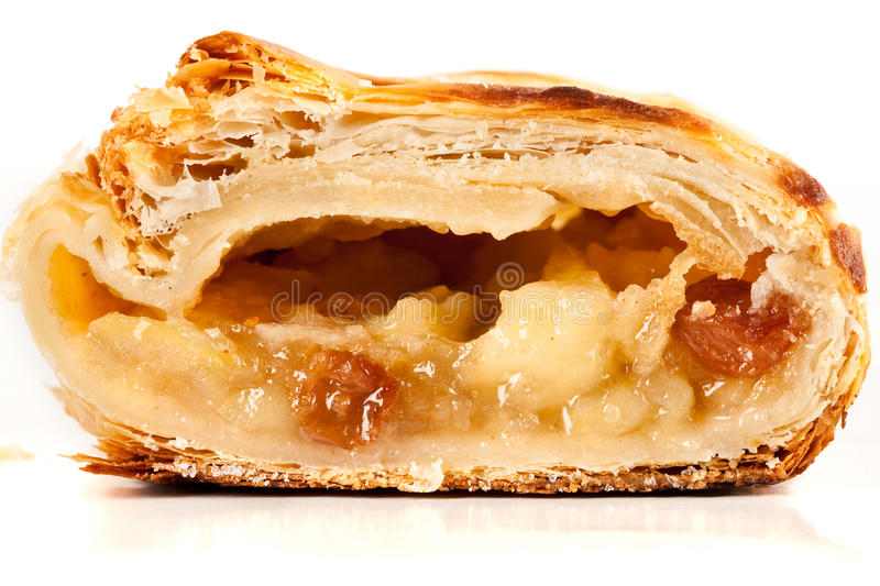Apfelstrudel (apple pie). Studio close up of delicious apfelstrudel (apple pie) isolated on white background stock images