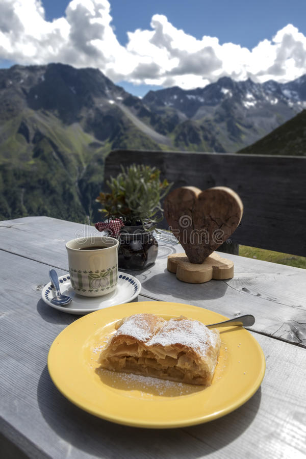 Apfelstrudel. In the austrian alps royalty free stock photo