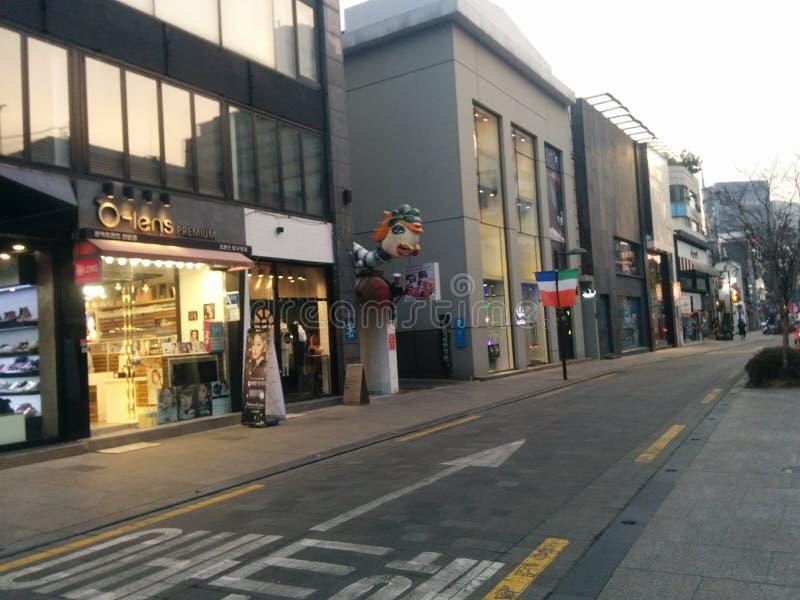 Apgujeongstraat bij zonsondergang royalty-vrije stock foto