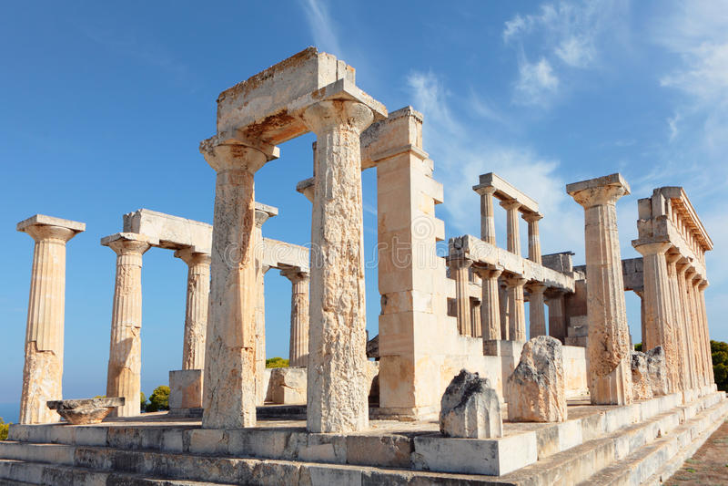 Aphaia świątyni ruiny obraz royalty free
