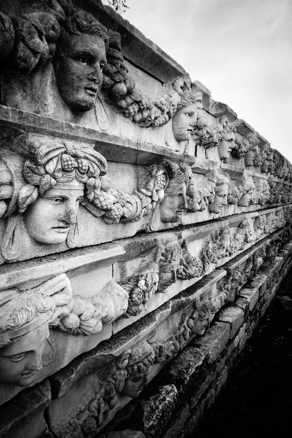 Aphrodisias Afrodisias Antyczny miasto w Caria, Karacasu, Aydin, Turcja Antyczna ściana, ulga i maski, obrazy stock