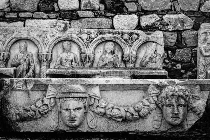 Aphrodisias Afrodisias Antyczny miasto w Caria, Karacasu, Aydin, Turcja Antyczna maskowa ulga fotografia royalty free