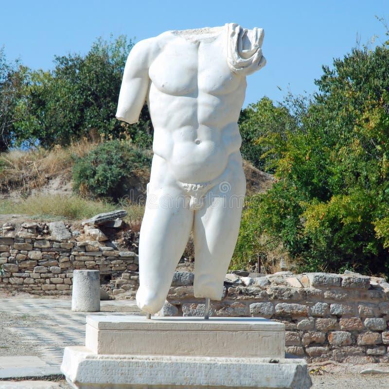 Aphrodisias - escultura masculina do torso - Turquia imagem de stock