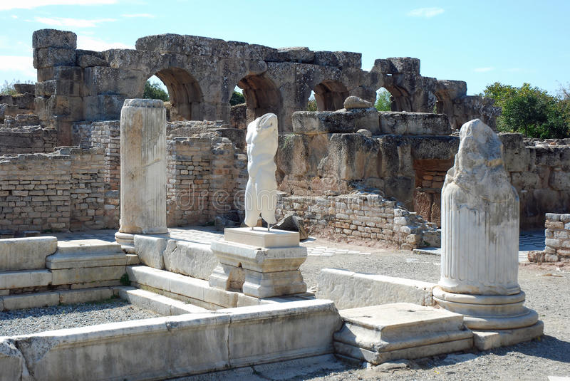 Aphrodisias - Ruins - Turkey. Ancient archaeology complex - Baths of Hadrian royalty free stock images