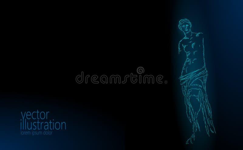 Aphrodite der niedrigen Polymoderner kunst altgriechischer Statue Milos Venus de Milos Polygonale Dreieckpunktlinie dunkelblau stock abbildung