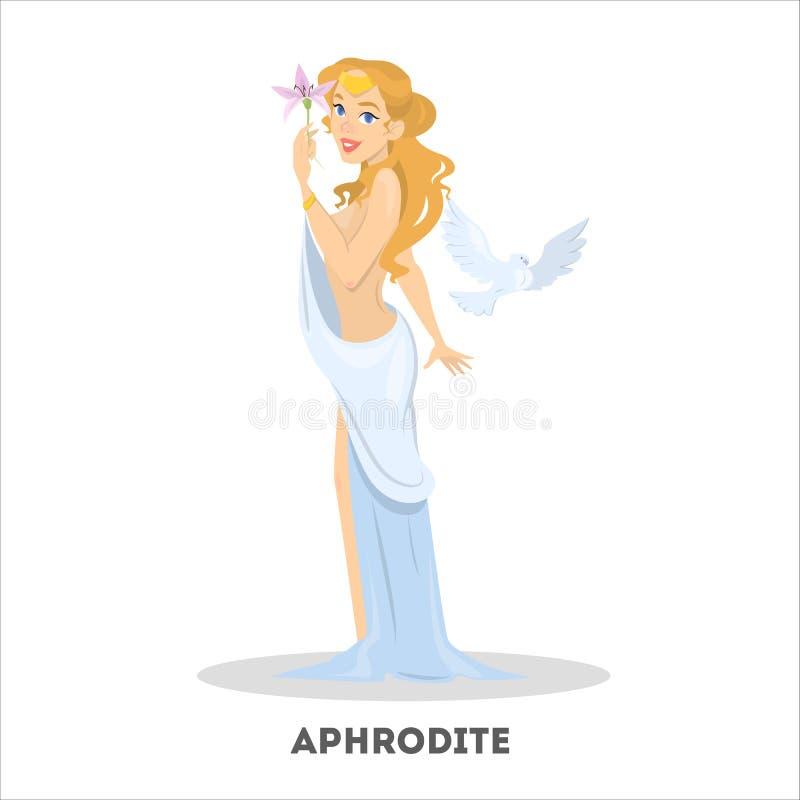 Aphrodite en el vestido blanco Diosa antigua hermosa griega ilustración del vector