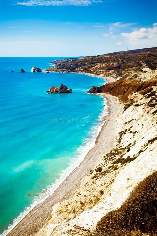 Aphrodite miejsca narodzin plaża w Paphos, Cypr obrazy stock