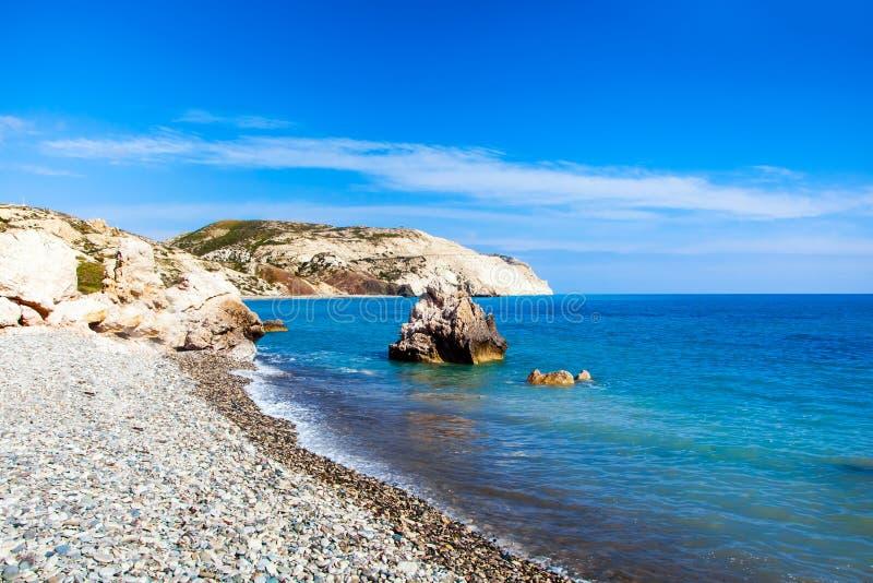 Aphrodite miejsca narodzin plaża w Paphos, Cypr zdjęcie stock