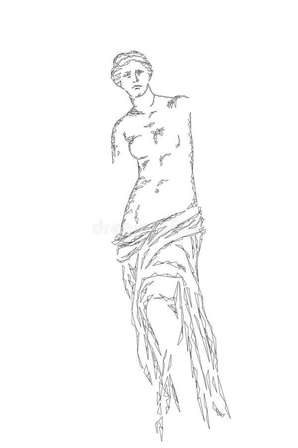 Free Aphrodite Of Milos Venus De Milo Ancient Greek Statue Low Poly Modern Art. Polygonal Triangle Point Line Abstract White Stock Photo - 108651010